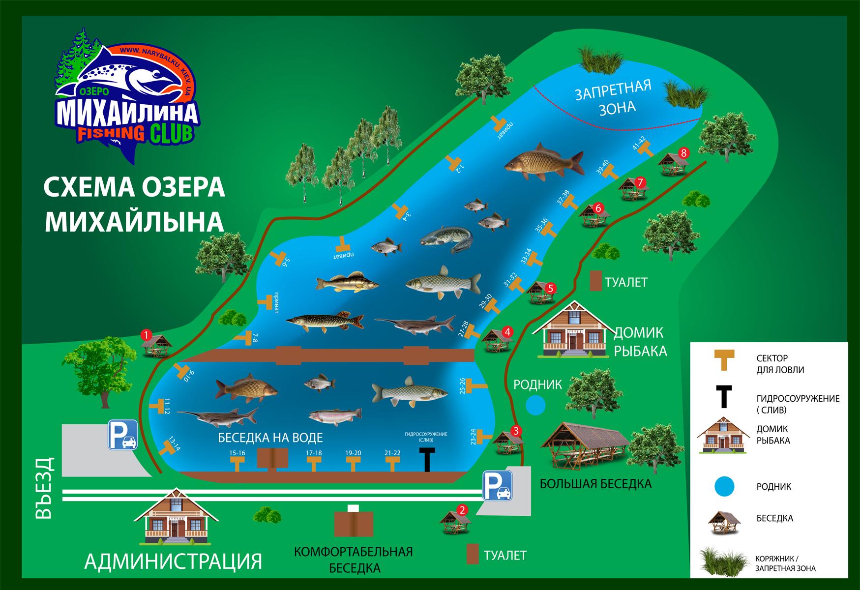 Схема озера Михайлына